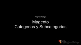 Magento Categorias y Subcategorias