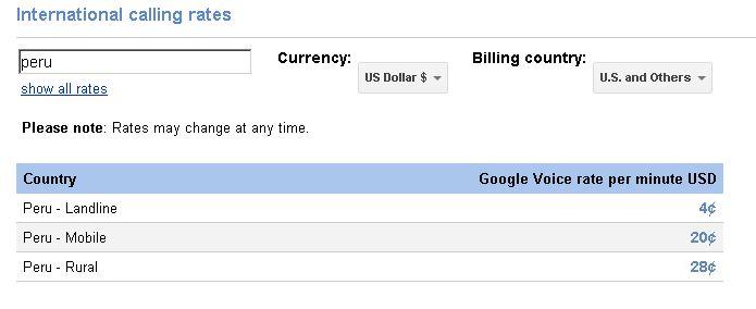 llamadas internacionales google voice