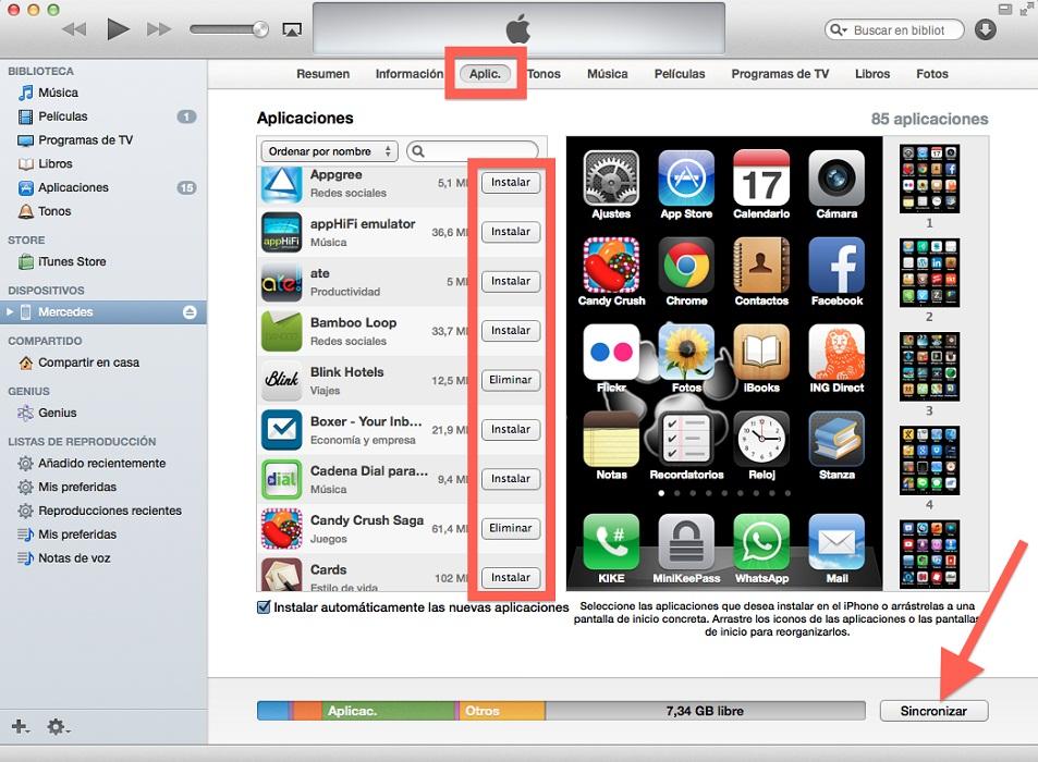 Programas para sincronizar información desde el móvil